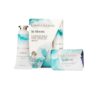 Linden Leaves In Bloom Aqua Lily Hand Cream and Cleansing Bar Set