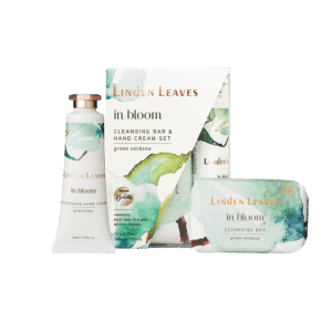 Linden Leaves In Bloom Green Verbena Hand Cream and Cleansing Bar Set