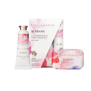 Linden Leaves In Bloom Pink Petal Hand Cream and Cleansing Bar Set